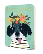 'Happy Birthday' - Dog with Floral Headpiece