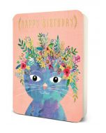 'Happy Birthday' - Cat with Floral Headpiece