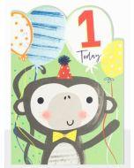 AGE 1 Card - Monkey & Balloons