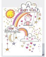 BABY Girl - Rainbow & bird on swing
