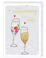 Wife Anniversary - Champagne glasses & hearts