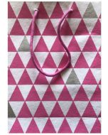 Gift bag - Pink & silver triangles