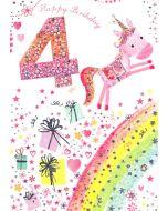 Age 4 Card - Unicorn Over Rainbow
