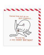 Birthday Card - Busy Schedule (Cat)