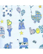 Folded Wrapping Paper - Blue Prams