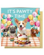 Birthday Card - 'It's PAWTY Time' (Dogs)