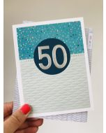 AGE 50 Card- Silver on Blue