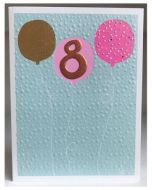 AGE 8 Card - Pink & Gold Balloons