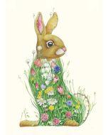 Greeting Card - Bunny in a Meadow  by Daniel Mackie