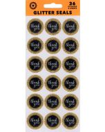 Seals/Stickers - Thank You Black & Gold Glitter (Pack 36)