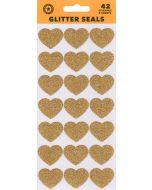 Seals/Stickers - Gold Glitter Hearts (Pack 42)