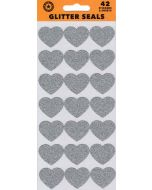 Seals/Stickers - Silver Glitter Hearts (Pack 42)