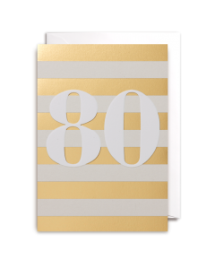 AGE 80 Card - Gold Stripes
