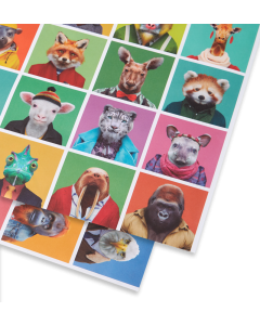 Folded Wrapping Paper - Zoo Portraits
