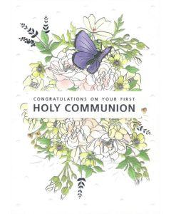 COMMUNION Card - Butterfly & Flowers
