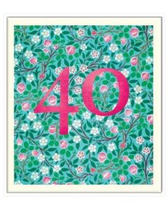 AGE 40 Card - Floral Background