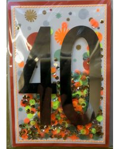 40th Birthday - Sequin shaker card