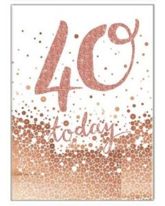 40th Birthday Card - Copper Foil '40 today'