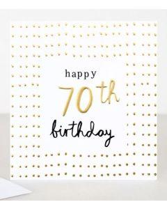 70th Birthday Card - Elegant Gold Dots