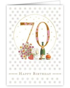 70th Birthday - Flowers & champagne