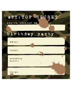 10 x Top Secret Birthday Party Invitations