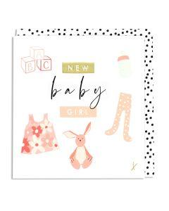 BABY GIRL card - Blocks, dress & bunny
