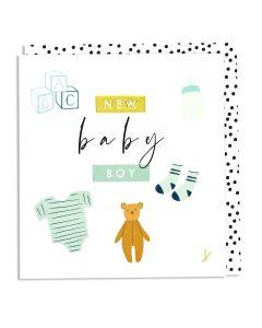 BABY BOY card - Blocks, socks & teddy