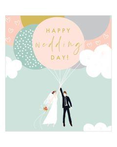 WEDDING card - Couple & Balloons