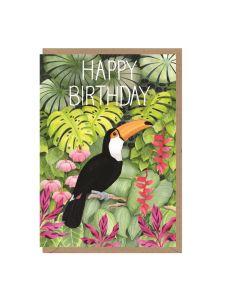 Birthday card - Toucan & greenery