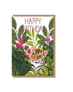 Birthday card - Tiger & foliage