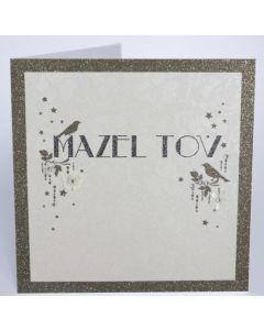 Mazel Tov - Sparkly gold birds & border