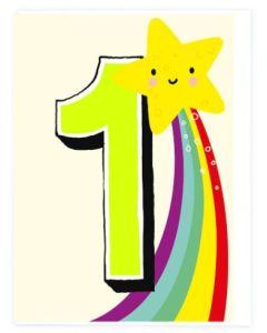 AGE 1 Card - Star & Rainbow