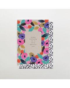 Birthday card - 'Very Special You' flower border
