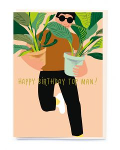 Birthday Card - Top Man with plants