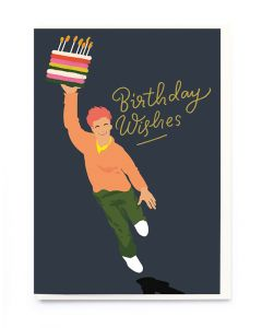 Birthday Card - Carrying cake on black