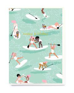 Birthday Card - Paddle Boarding