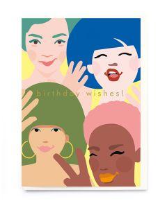 Birthday Card - Four Faces