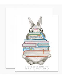 Birthday card - 'Real page turner' bunny