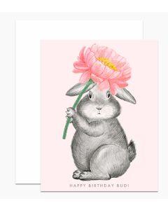 Birthday card - 'Budi' bunny with pink flower