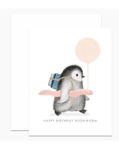 Birthday card - Cute penguin bookworm