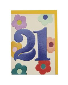 AGE 21 - '21' & coloured flowers