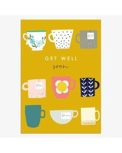 GET WELL card - Tea Cups