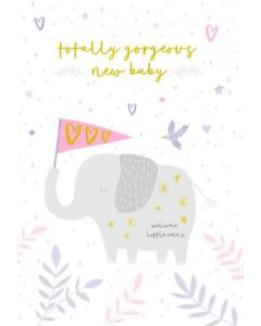 BABY Girl - Elephant & heart flag