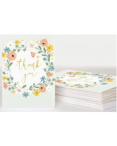 Thank You Cards - Floral Wreath (10 cards)