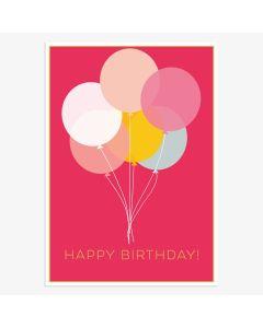 Birthday card - Balloon bunch of hot pink