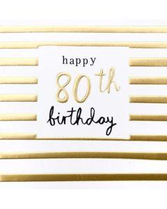 80th Birthday Card - Gold Stripes