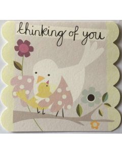 Thinking of You - Bird hug & flowers
