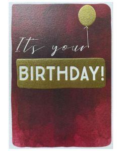 Birthday Card - It's Your Birthday (Gold Balloon)