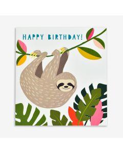 Birthday Card - Sloth hanging