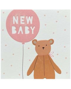 BABY - Bear with 'New Baby' pink balloon